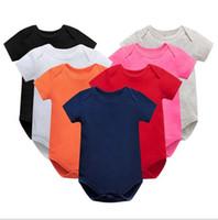 신생아 Jumpsuit rompers 단색 컬러 아이 유아 코튼 장난 꾸러기 아기 소년 소녀 점프 수트 여름 반소매 jumpsuit Romper Willings E8601