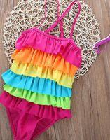 Baby Mädchen Regenbogen einteiliger Badebekleidung Badeanzug Schöne nette Kleid Bikini Swiming Beach Tragen Badeanzüge für Mädchen