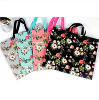 50pcs Hard Paper Shopping Bags Floral Apparel Package With R...