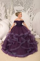 Dark Purple flower girl dresses sheer neck a line first holy...