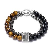 Bracelet en perles, yoga élastique pierre naturelle pour hommes et Bracelet double en acier inoxydable Femmes
