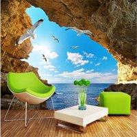 beibehang стены обои 3d искусства фон фотографии океан риф чайка отель спальня Mural Пользовательские картины для гостиной