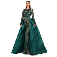 이슬람 이브닝 드레스 2019 반짝 반짝 빛나는 긴 소매 탈착식 기차 에메랄드 그린 kaftan 아라비아 공식 파티 가운 댄스 파티 드레스