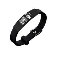 Black Lebt Matter Armbänder Armreif Für Männer Frauen Neue Mode Amerikanische Protest Schwarz Edelstahl Silikon Buchstaben Armband Schmuck Geschenke