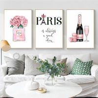 Carteles e impresiones de arte de moda Champagne Pink Perfume Poster Paris Tower Canvas Painting for Living Room Decoration Pictures