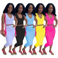 Diseñador de las mujeres trajes de chándal camisa + falda con cuello en V Conjunto de dos piezas sin mangas falda de la camisa delgada medias de deporte casual sexy mujer falda conjunto