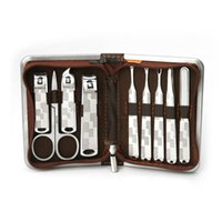 9pcs Nail Care Clippers set manicure forbicine Tweezer Manicure Pedicure Travel Set Grooming Kit RRA2558