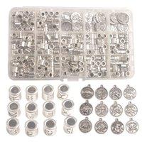 Nuovo arrivano Una scatola di 264PCS argento Antiqued metallo Cilindro zodiacale Beads Charms Sign