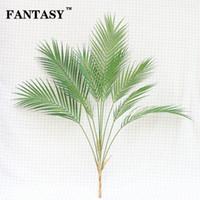88 cm 9 Garfo Tropical Falso Palmeira Buquê De Folhas Artificiais Ramo Grande Verde Falso Planta Folha De Plástico Para O Havaí Decoração Do Partido