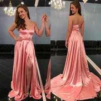 2020 New Coming Satin Prom Dress Spaghetti Straps Deep V Nec...