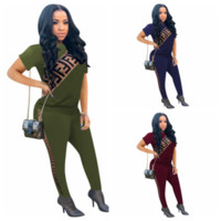 F Letter Tracksuit Women Short Sleeve T Shirt Long Pants 2pc...
