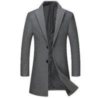 Para hombre otoño para trinchera abrigos color sólido de la solapa de manga larga con cuello más el tamaño de Hombre Ropa Casual Ropa