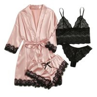 4PC Lace Satin pajamas set Bra Camisole Shorts Pajamas Sleep...