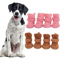 4pcs / set Grosso cão da neve Shoes Pet Chihuahua animal aquecimento algodão Sapatilhas Plush Inverno de cachorro Gatos Aqueça Supplies Botas Pet