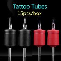 Одноразовые татуировки Захваты Большой размер 35 мм мягкий силиконовый 1,4 дюйма Черный трубы Красный татуировки с Clear Советы для 15pcs иглы татуировки Поставка в коробке