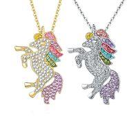 Diamante unicornio diseñador colgantes collares de lujo joyería de lujo collar de mujeres cristal rhinestone caballo animal niñas anime encanto con cadena de enlace