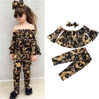 2019 Fashion Kids Girl Clothes Off spalla Flare manica lunga Tops Long Pant fascia 3PCS Floral Baby Girls Clothing Set 1-5Y