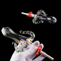 Mini Glass Bubbler Water Pipes Kit Ox Horn Shape Dab Bong Wi...