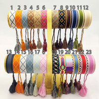 New Cotton woven Letter Embroidery tassel bangle Lace- up Bra...