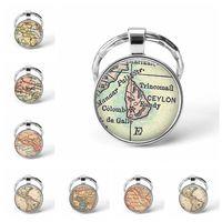 Date Métal Porte-clés À La Main Vintage Ceylan Carte Du Monde Terre Géographie Porte-clés En Verre Dôme Porte-clés Pour Hommes Femmes Cadeau