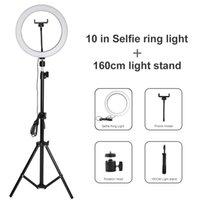 10 polegadas Regulável Fotografia Iluminação LED selfie Ring Light 26 centímetros da lâmpada Anel Com 160 centímetros tripé para Youtube composição de vídeo ao vivo Estúdio