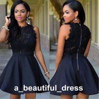 블랙 레이스 짧은 동창회 졸업 드레스 민소매 보석 목 칵테일 파티 드레스를 들어 가운 맞춤 제작 댄스 파티 드레스 GD7823