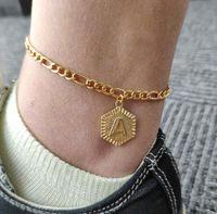 26 Letter A-Z Позолоченные ножной Бич Foot Jewelry Leg цепи Мода ножные для ног Женщины Босиком сандалии лодыжки браслет