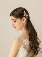 Chic Alloy 2 Grampos casamento peças com grampos de cabelo Flor Handmade ouro Headpieces nupcial pinos dama Mulheres Jóias cabelo Cabelo Accessor
