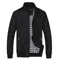 Homens gola Bomber Jacket Light Weight Primavera Outono Zip-up vôo Piloto vento disjuntor Plus Size M-8XL Jacket