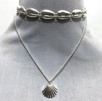 Al por mayor versátil metálico doble cadena del cuello cáscara de la aleación de vieira colgante collar de estilo étnico collar de la joyería