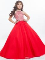 2020 Red Ball платье девушки Pageant платья высокого шеи Холтер серебристые Кристал Тюль Backless малышей Маленькие девочки Pageant платья для юниоров