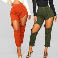 Jeans déchirés Pantalon Femmes Long Denim Baggy Taille Haute Trou Streetwear Plus La Taille Capris Zipper Pantalon Mince Pantalones Lâche