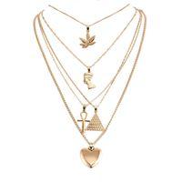 kolye Altın katmanlı kolye Maple Leaf Firavun Piramit Kalp Salkım Wrap Salkım kolye istiflere açılan gemi