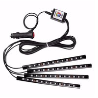 Atmosfera LED Car Pé Luz LED Car Faixa Interior Lighting Kit Styling Interior decorativa lâmpadas de luz remoto sem fio Sound Control
