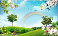 splendido scenario 3D Wallpapers cielo blu e bianco nuvola erba arcobaleno sfondi paesaggio naturale a muro per TV di sfondo