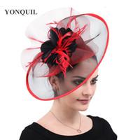 1737eef2980c6 Wholesale ladies wedding hats for sale - Women Feather Mesh Fascinator Hats  Ladies Elegant Kenucky Derby