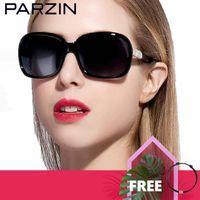 Moda óculos de sol com o caso da Folha PARZIN Mulheres óculos polarizados elegante strass luxo óculos de sol Mulheres