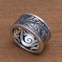 Solide 925 Sterling Silber Ring Holz Außen Mysterious Pattern Vintage Ringe für Männer Frauen Hochzeit Silber Schmuck Größe 5 -12