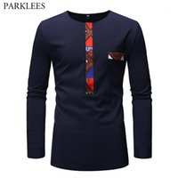 Mode africaine Dashiki Patchwork T-shirt Homme 2019 Marque New Slim Fit à manches longues T-shirt Homme Hip Hop Casual T-shirts Camiseta1 Tops