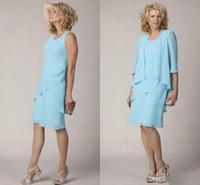 Dernière mère de la mariée robe avec veste genou longueur de mousseline de mousseline de foyers 0/4 manches robes de soirée formelles Coustom taille taille