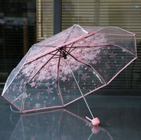 100pcs / lot transparent clair Poignée parapluie coupe-vent 3 Umbrella Fold Fleur de cerisier champignon Apollo femmes Sakura Umbrella SN1064 Girl