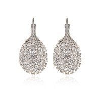 Fine Jewelry Rhinestone Wedding Plated Silver Earrings Fashi...