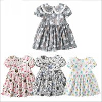 어린이 의류 여자 부티크 여름 드레스 스커트 A 라인 파티 드레스 짧은 소매 만화 코튼 드레스 공주 비치 드레스 C6072 인쇄하기