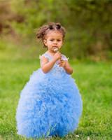 Niedliche blaue Spitze appliziert Ballkleid Blumenmädchenkleider billig geraffte Mädchen Prinzessin Pageant Kleid lange formale Party Brautkleider