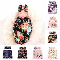 Flor de bebê recém-nascido Swaddle coelho orelha headband + rosa swaddle pano 2 pc / set impressão floral recebendo cobertores