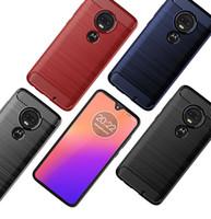 Motorola bir vizyon için Z4 Kuvvet Moto G7 Artı G7 Güç G7 Oynat E6 Artı Durumda Zırh Hibrid Silikon Karbon Fiber Yumuşak TPU Jel Cilt Telefon Kapak
