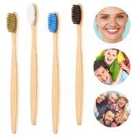 Натуральная бамбуковая зубная щетка плоская бамбуковая ручка мягкая щетина зубная щетка для взрослых радужные зубные щетки бамбуковые продукты
