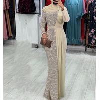 Vestidos de noche de manga larga 2020 Vestido Longo Festa más el tamaño de la sirena de plata de las lentejuelas y gasa Champagne árabe vestidos de noche de muselina