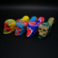 Новые Оптовые череп силиконовые бонги курительная трубка с ложкой стекла бонг мазок трубы красочные трубы бесплатная доставка