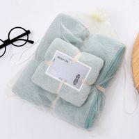 Коралловый флис полотенце набор полотенец мягкий абсорбент милый удобный сплошной цвет Главная Гостиница ванная комната для взрослых детей банное полотенце девять цвет свободный пост